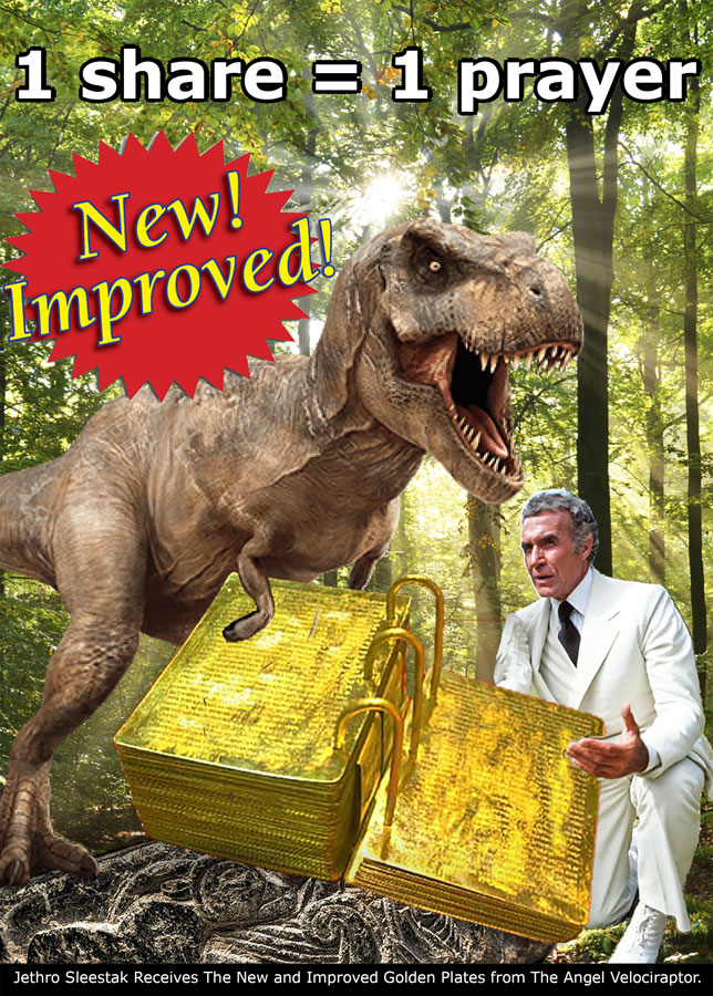 Jethro Sleestak Receives The New and Improved Golden Plates from The Angel Velociraptor.